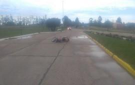 11/02/2019: Un motociclista fue hospitalizado tras derrapar en el pavimento mojado