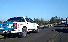 19/04/2021: Tránsito restringido en zona del puente Alvear por el choque entre una moto y un utilitario