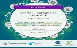 20/05/2019: Reabrió la convocatoria para formar parte de la oferta exportable entrerriana 2018/19