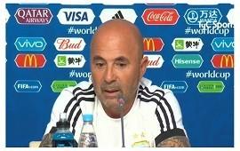 26/06/2018: - - - - Sampaoli le agradeció a la hinchada que copó el estadio: