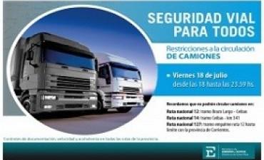 Este viernes habrá restricción vehicular de camiones