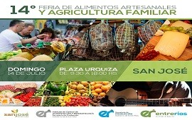 12/07/2019: En San José se realizará XIV Feria de Alimentos Artesanales y de la Agricultura Familiar