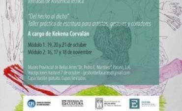 Se realizará un taller de presentación de proyectos para artistas y gestores culturales