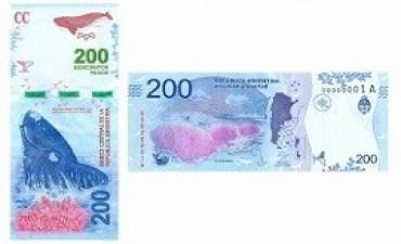 El BCRA presentó el nuevo billete de 200 con la imagen de la ballena franca austral