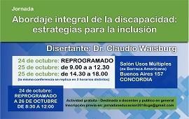22/10/2018: Se realizará en Concordia una conferencia sobre abordaje Integral de la discapacidad