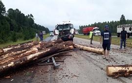 25/11/2020: Un cisterna impactó en parte trasera de otro camión cargado con palos